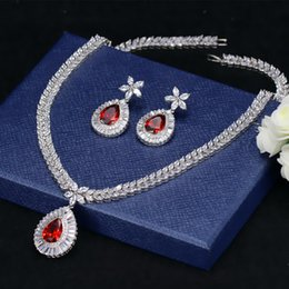 Wholesale ruby bridal - Luxury ruby aaa quality zircon elegant and exquisite charms wedding party bridal jewelry sets modern