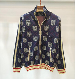 48aff8a2956c60 women sweater zipper pockets 2019 - Luxury Tiger Head Jackets Women s Zipper  Striped Jackets Long Sleeve