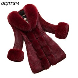 Argentina ¡CALIENTE! Abrigo de piel 2017 Nueva moda Mujeres Abrigo de Invierno Moda Faux Rabbit Coat con Fox Collar Mujer prendas de Vestir Exteriores femenino más tamaño Suministro