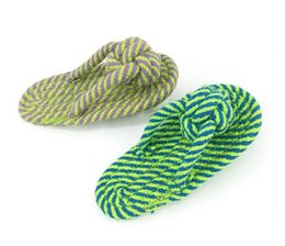 Wholesale grinding dog - Fashionable Multi-Color Cotton Rope Clip Slippers Pet Toys Teeth Grinding Rope Knot Interactive Toys Big Dog and Cat Toys