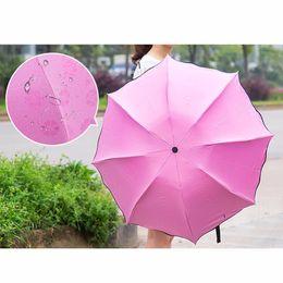 Wholesale Dome Magic - 2017 Newest 4 Colors Sun   Rain Folding Umbrella For Women Change Color Umbrella Lady Princess Magic Flowers Dome Parasol OB