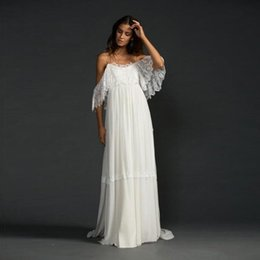 Wholesale Greek Style Dresses - Greek Style Boho Bohemian Wedding Dresses Spaghetti Straps A Line White Lace and Chiffon Beach Wedding Gowns 2018 Bride Dresses