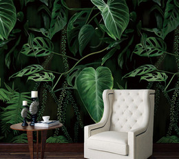 Wholesale 3d Pictures Wall Art - Green Plants Mural Picture Wall Paper 3D for Living Room Wall Art Decor Painting Wallpaper Walls Photo Print Wallpaper Murals