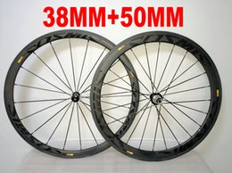 Wholesale carbon fiber rear wheel - Black on Black COSMIC 38MM+ 50MM 700c carbon fiber wheelset 700C road bike full carbon bicycle wheels