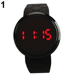 Wholesale Touch Screen Led Round Watch - Men Fashion Waterproof LED Round Touch Screen Day Date Silicone Wrist Watch