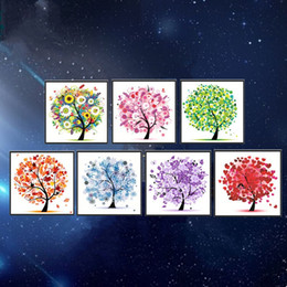 Wholesale crosses for crafts - Square DIY 5D Magic Diamond Painting Pepi Tree Pachira Macrocarpa Pattern Hanging Crafts For Home Decor Frameless Cross Embroidery 9tz BY
