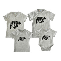 760de566f family matching look T shirt letters bear printing short sleeve grey T shirt  romper for father mother and baby summer fashion family matchin
