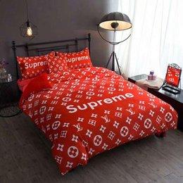 Brillante, rojo, logotipo popular, edredón mixto, traje de 4 piezas en la sala de bodas Nuevo conjunto de edredón, funda de gamuza fina desde fabricantes