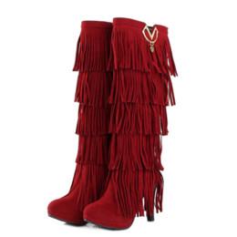 41c7563f3f19f stivali rossi dell alto tallone della frangia Sconti Autunno Inverno Stivali  Moda frange in metallo