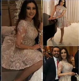 Wholesale kim kardashian peplum dresses - Evening dress Yousef aljasmi Kim kardashian Short Dress Long Sleeveless Jewel Crystal Lace Zuhair murad
