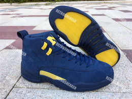 Wholesale womens christmas tops - 2018 Hot Sale New Jumpman XII 12 Michigan Blue Yellow Basketball Shoes 12s Sports Shoes Mens Athletics Top Quality Womens Sneaker Size 36-47