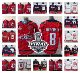 Wholesale Orange Ice Hockey Jerseys - 2018 Stanley Cup Washington Capitals 8 Alexander Ovechkin 77 TJ Oshie 92 Evgeny Kuznetsov 70 Holtby Red Navy White Hockey Jersey Stitched