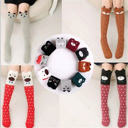 Wholesale Child Girl Knee High Socks - Children Cartoon Cute Knee High Long Socks Girls Animal Print Cotton Socks Leg Warmer Kids Baby Autumn Spring Pile socks Free DHL