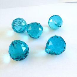 Wholesale Crystal Drops Decoration - 20mm 100pieces Aquamarine Crystals Chandelier Pendant Ball Lighting Drop For Wedding Decoration