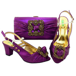 Wholesale Pink Matching Shoes Bags - Purple Italian Shoes with Matching Bags for Wedding Women Shoes and Bag to Match for Parties Nigerian Shoes and Bag Sets