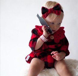 Wholesale Infant Girl Plaid Rompers - INS Newborn Long Sleeve Red Plaid Rompers Baby Jumpsuit New 2018 Spring Autumn Infant Romper For Boy Girl Kids Clothes