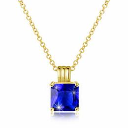классное ожерелье Скидка Fashion Trend Wild Treasure Blue Pendant Necklace Gold Necklace Class Lady Fashion Square Crystal Jewelry Girl Women Accessories