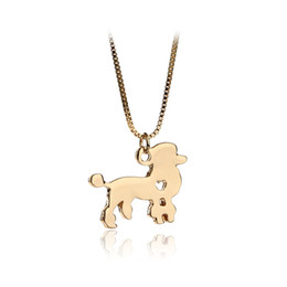 Wholesale Jewelry For Dog Lovers - Poodle Dog necklace silver gold color dog Charm Pendant Maxi NecKlace For Women Men Jewelry Long Chain Pet Gifts For Lover