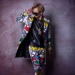 Traje de la etapa personalizada cantante bailarín ropa DJ hombres moda Hip  Hop chaqueta chaleco chaqueta larga Casual abrigo masculino moda del hombre  del ... 453d5ba24d6