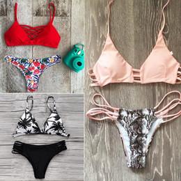 Brasilianischer ausschnitt badeanzug online-Halter Bikini 2018 Sexy Bademode Frauen Badeanzug Ausgeschnitten Brasilianische Bikini Set Bandage Beach Wear Bademode Weibliche Badeanzug