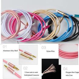 Teléfonos móviles color oro online-Cable auxiliar de 3,5 mm a 3,5 mm Cable de nylon Conector macho dorado a macho Cable de audio para el teléfono móvil del coche MP3 / MP4 Altavoz para auriculares