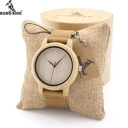 Wholesale Custom Logo Watches - BOBO BIRD Mens Natural Wood Bamboo Watches Womens Vintage Wooden Watch With Genuine Leather Band in gift box custom logo