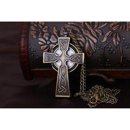 reloj de numerales arábigos Rebajas Reloj de bolsillo con forma de cruz y números árabes con cadena (bronce)