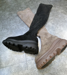 Wholesale High Sole Motorcycle Boots - Woman's Winter new suede stretchelevator shoes motorcycle black thick-soled cake plus velvet Snow Thigh-High Martin Boots