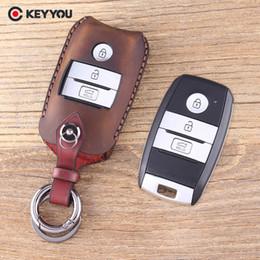 llavero caso kia Rebajas EYYOU Remote Shell Case Fob 3 botones Funda protectora de cuero genuino para Kia K3 K4 K5 Sorento Sportage Car Key