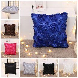 Wholesale Fancy Fabrics - Colorful Slippery Fabric Pillowcase For Home Bed Decoration Unique Design Super Soft Cushion Cover Fancy 3D Rose Flower Pillow Case 6gr Z