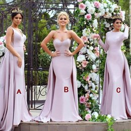 Wholesale silk mermaid wedding dresses - 2019 Mixed Styles Mermaid Bridesmaid Dresses with Overskirt Train Arabic Dubai Formal Long Wedding Evening Bridesmaids Party Gowns