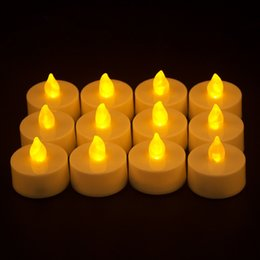 Wholesale yellow tealight candles - 300pcs lot Flicker Tea Candles Light New LED Flameless Tealight Battery Operated for Wedding Birthday Party Christmas Decor T2I095