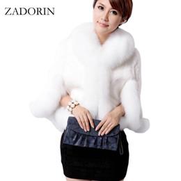 Wholesale Short Gilet - High Quality Luxurious Winter Women Faux Fox Fur Coat Wedding Bride Faux Fur Poncho gilet fourrure femme chalecos de pelo mujer