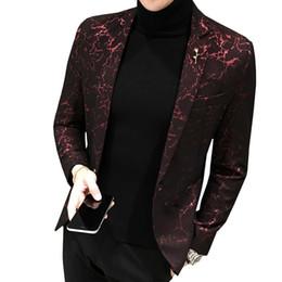Hommes Imprimé D'affaires Décontracté Blazer Mince Nouveau Vent Rouge Bleu Noir 5XL Élégant De Fête De Mariage Élégant Blazers Pour Hommes Costume Veste S18101902 ? partir de fabricateur