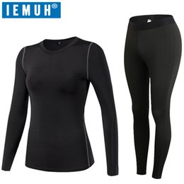 Wholesale Thermo Underwear Set - IEMUH Brand Women Sport Thermal Underwear Winter Fitness Quick Dry Elastic Compression Warm Long Johns Thermo Underwear Set HI-Q