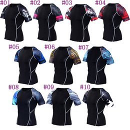 Wholesale gym clothes womens l - Mens tight fitness running tshirts breathable riding T SHIRT quick dry womens Cycling shirt outdoor gym clothing sports Exercise shirts