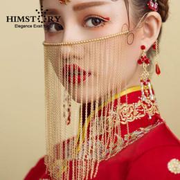 HIMSTORY Vintage chinesischen Vorhang Gesichts MAsk Handmade Beades lange Quaste Braut Hochzeit Gesicht Schmuck von Fabrikanten