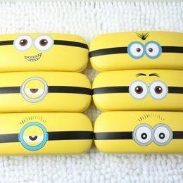2019 contatos redondos New Cute little amarelo Minions Óculos Caso caixa de óculos de couro para mulheres homens Óculos Caixa Hard Eyewear Caso eyewear accessorie L031