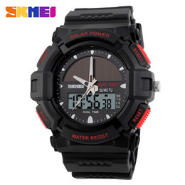 Wholesale Watch Solar - Time of the American personality solar watch fashion electronic double show waterproof outdoor sports male watch student watch 1050.