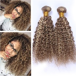 2019 paquetes de cabello humano rizado Kinky Curly # 8/613 Marrón Mixto Rubio Piano Color Virgin Malaysian Hair Packs 3Pcs Highglight Mix Piano Color Cabello Humano Teje paquetes de cabello humano rizado baratos