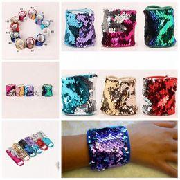 Wholesale Glitter Cuff Bracelet - Mermaid Sequin Bracelet Magic Sequin Wristband Bangle Personalized Glitter Bangle Cuff Wristband Women Charm Gifts 11 Colors 120pcs OOA3983
