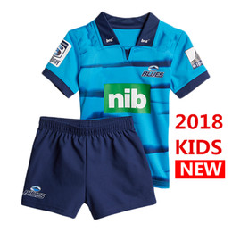 Wholesale National Hot - Hot sales new Zealand 2018 blues Super Rugby jersey Boy kids home rugby Jerseys NRL National League shirt nrl jersey child kit shirts