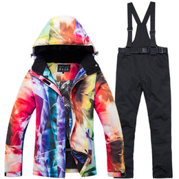 047ce67a15c De alta calidad a prueba de viento a prueba de viento trajes de esquí mujer  chaqueta de esquí pantalones trajes de snowboard Snowboard abrigo y  pantalones ...