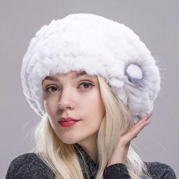продажа вязаных беретов Скидка ZDFURS * горячие продажи женская мода трикотажные реальный натуральный Рекс кролик меховая шапка подлинной женщин зима меховая шапка высокое качество берет шляпа