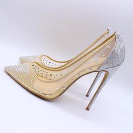 zapatos de boda de la boda de las sandalias del rhinestone Rebajas Envío gratis moda mujeres bombas Nude Mesh strass Rhinestone punta estrecha tacones altos sandalias zapatos botas novia boda bombas 120mm 100mm