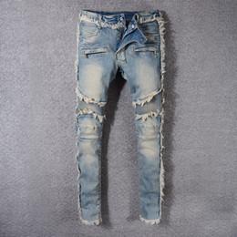 Wholesale Plus Size Harem - Men's Distress Ripped Biker Embroidery Jeans Blue Black Famous Brand Designer Mens harem Destroyed Denim Hip Hop pants For