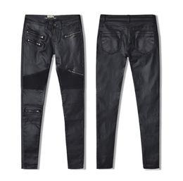Discount motorcycle leggings - W-Yunna New Fashion Imitation Denim Slim Leggings for Women Black Motorcycle Streetwear Pants Folds Zippers PU Leather Pants