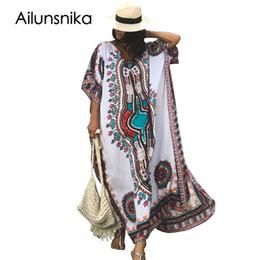 f94dc90bcb vestidos étnicos más tamaño Rebajas Ailunsnika Tallas grandes Mujer Verano  Africano Étnico Estampado Kaftan Maxi Vestido