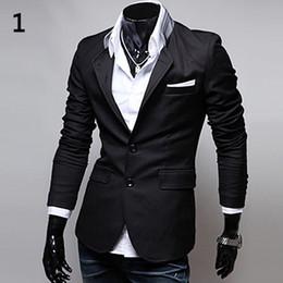 2019 riscaldare gli uomini del vestito Uomo Slim Autunno Suit Moda Blazer Primavera formale Autunno due bottoni caldo morbido Casual Stand-up collare Affari maschio Suit Coat D18101103 riscaldare gli uomini del vestito economici