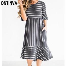 vestito elegante a strisce patchwork Sconti 2018 donne estate Midi Dress O  collo manica corta tasche 8c3675990f0